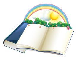 Un libro di fiabe con un arcobaleno e piante vettore