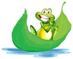 Una rana sorridente sulla grande foglia vettore