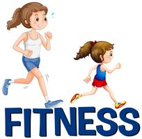 Word fitness e due ragazze in esecuzione vettore