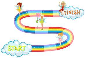 Modello di gioco con fate che volano su arcobaleno vettore