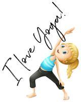 Espressione a frase per I love yoga vettore