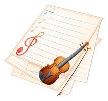 Una carta vuota con un violino e note musicali vettore