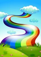 Un arcobaleno nel cielo blu chiaro