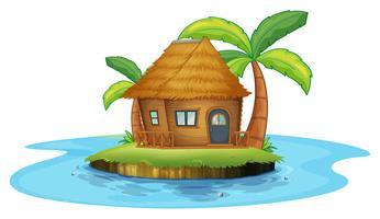 Un'isola con una piccola capanna nipa vettore