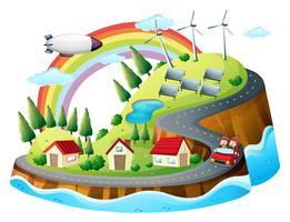 Un villaggio colorato vettore