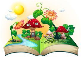 Libro della casa dei funghi vettore