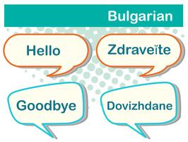 Saluto parole in lingua bulgara vettore