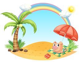 Un maiale rilassante in spiaggia vettore
