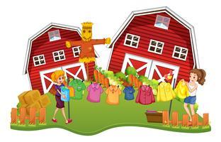 La scena dell'azienda agricola con due ragazze fa il bucato