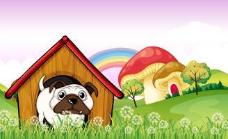 Un bulldog nella cuccia vicino ai funghi giganti