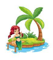 Un'isola con una sirena vettore