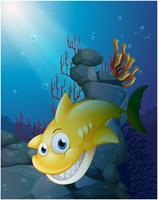 Un grande squalo sorridente sotto il mare vettore