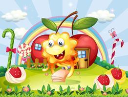 Un mostro felice in cima alla collina con lecca lecca gigante e case di mele vettore