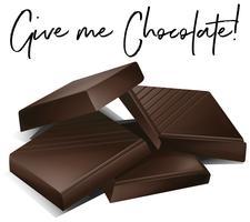 Barrette di cioccolato e frase dammi cioccolato vettore