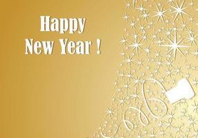 Carta da parati di vettore del nuovo anno Champagne oro