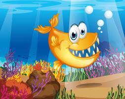 Un pesce arancione vicino alle barriere coralline