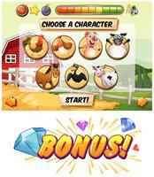 Modello di gioco con personaggi di animali della fattoria vettore