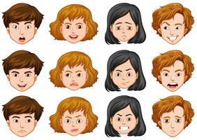 Persone con diverse espressioni facciali vettore