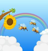 Un alveare e le tre api vettore