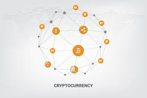 Tecnologia di rete blockchain di criptovaluta denaro digitale sulla linea di fondo geometrico. illustrazione vettoriale.
