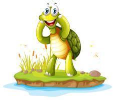 Una tartaruga sorridente in un'isola vettore