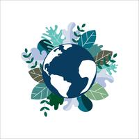 Salva il pianeta terra. Concetto di giornata mondiale dell'ambiente. ecologia ecologica Congedo verde naturale sul globo terrestre. vettore