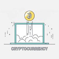 Tecnologia di rete blockchain di denaro digitale criptovaluta. crescita di bitcoin. stile arte linea sottile.