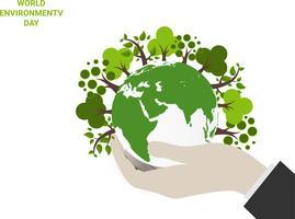 Salva il concetto di mondo pianeta terra. Concetto di giornata mondiale dell'ambiente. ecologia concetto amichevole di eco. Foglia verde naturale e albero sul globo terrestre .. vettore