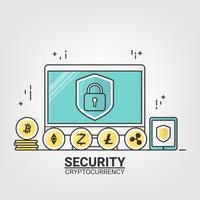 Criptovaluta con tecnologia di rete blockchain. Sicurezza del concetto di blockchain. stile arte linea sottile. vettore