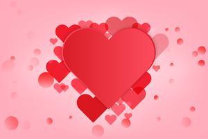 Cuore di San Valentino Fondo decorativo del cuore con i cuori dei biglietti di S. Valentino. concetto di amore e San Valentino, stile di arte della carta.