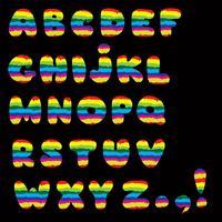 Alfabeto. Insieme di alfabeto dei caratteri della lettera latina della linea stile del bambino vettore