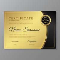 Certificato e diploma di lusso di apprezzamento e illustrazione di vettore del modello di progettazione moderna