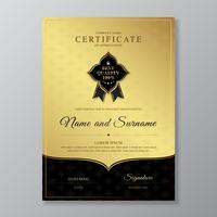 Certificato dorato e nero e diploma di lusso di apprezzamento e illustrazione di vettore del modello di progettazione moderna