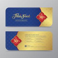 L'alimento tailandese ed il modello di lusso di progettazione del buono di regalo del ristorante tailandese per la stampa, le alette di filatoio, il manifesto, il web, l'insegna, l'opuscolo e la carta vector l'illustrazione