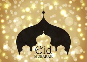 Sfondo di Eid Mubarak con silhouette moschea su stelle d'oro e luci bokeh vettore