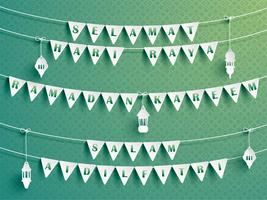 Bandiere festive della stamina con i saluti. vettore