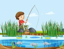Un uomo che pesca nel lago vettore