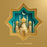 Grafica cartacea della moschea islamica vettore