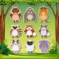 Set di adesivi animali esotici vettore