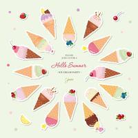 Fondo festivo di estate dei coni gelati con il posto per testo. Adesivi tagliati di carta