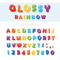 Disegno di carattere colorato arcobaleno lucido. Lettere e numeri ABC festivo. vettore