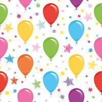 Modello senza cuciture festivo con palloncini colorati e coriandoli. Per il compleanno, baby shower, design di feste. vettore