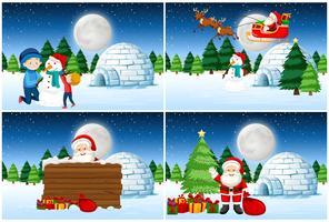 Santa dando regali insieme vettore