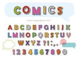 Design di carattere comico. Divertenti lettere e numeri pop art. Vettore