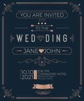 Modello di carta di invito matrimonio vintage vettore