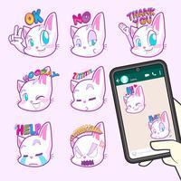collezioni di adesivi emoji gatto carino vettore