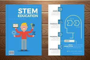 Modello di copertina e volantino del libro di educazione staminali vettore