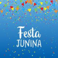 Festa Junina sfondo con striscioni e coriandoli vettore