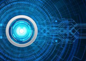 Concetto di sicurezza cyber dell'occhio azzurro, Internet digitale di ciao alta velocità astratta. tecnologia del futuro, sfondo vettoriale. vettore