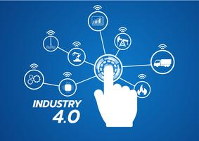 Immagine di concetto di industria 4.0. strumenti industriali in fabbrica, Internet of things network